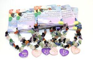 Chakra Bracelet Gemstone Crystal mineral  Alphabet Name Letter Gift Uk Seller ✔