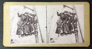 Unusual-Vintage-Stereo-View-Stereoscopic-Photo-A93-Four-Elevated-Young-Ladies