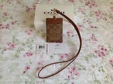 Authentic Coach Signature PVC Khaki/Saddle Lanyard ID Badge Holder Case F63274