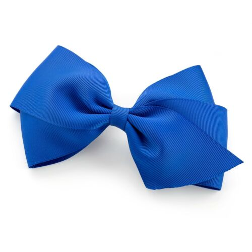 "5.5/"" Large Plain Coloured Ribbon Style Bow Hair Beak Clip Slide Grip 14cm Bow"