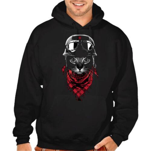 New Men/'s Pilot Cat Black Hoodie Adventure Kitten Aviator Kitty Graphic Sweater