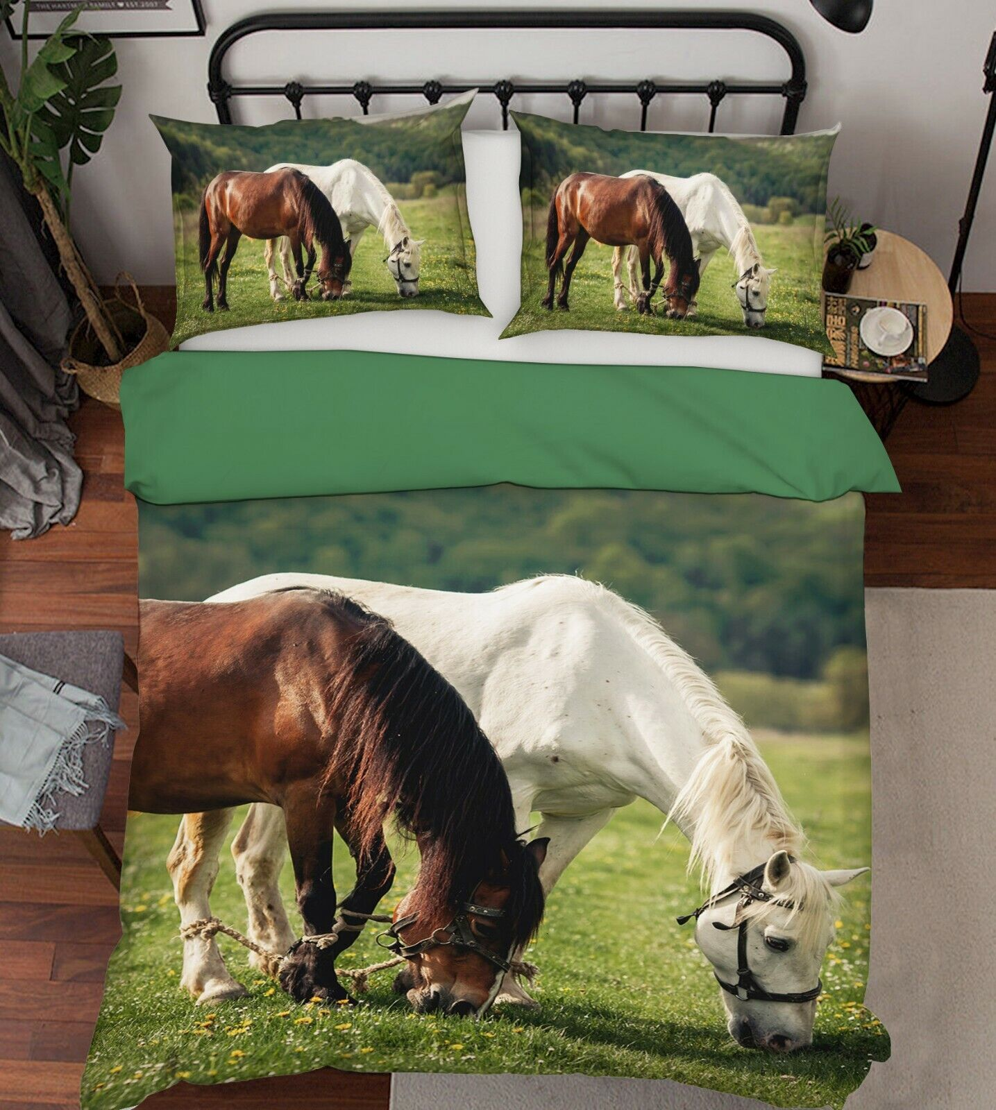 3D Horse Grazing R126 Animal Bed Pillowcases Quilt Duvet Cover Queen King Zoe