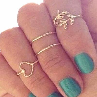 4 Pcs/Lot Vintage Gold&Silver Love Heart Leaves Crystal Knuckle Finger Rings Set