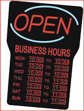 Royal Sovereign Illuminated Led Business Open Sign With Hours Rsb 1342eblack