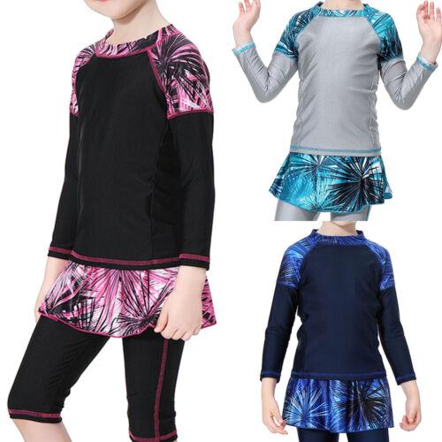Girls Muslim Modest Swimwear Kids Beach Swimsuit Burkini Full Cover Bathing Suit