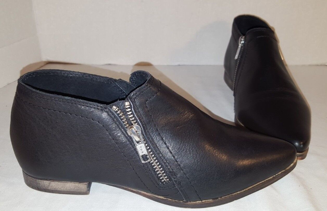 NEW FREE PEOPLE BLACK LEATHER IN SIGHT ZIPPER BOOTS US 6 EUR 36