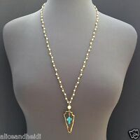 Antique Gold Pearl Beads Cross Turquoise Stone Arrowhead Shaped Pendant Necklace