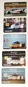 Set-of-5-Phone-cards-Peugeot-1e-aux-24-Heures-du-Mans-92-amp-93-50-unit-120-unit