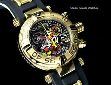 Invicta WOMENS 38mm Disney Subaqua NOMA I Gold Tone Black Dial Strap Watch +Case