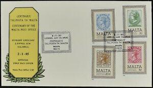 Malte 1985 Centenaire De La Poste Premier Jour Housse #c52114