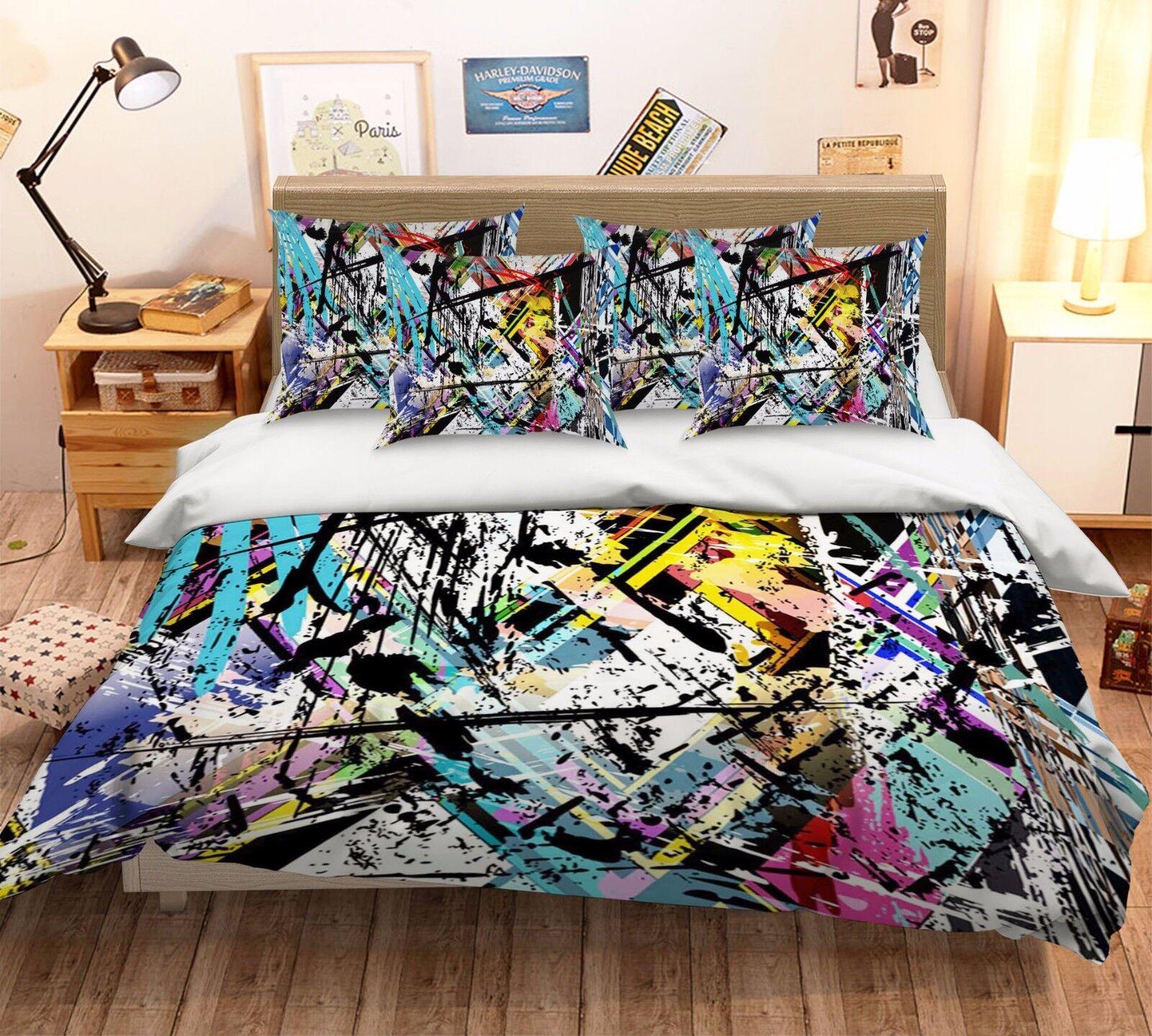 3D Personality Graffiti 55 Bed Pillowcases Quilt Duvet Cover Set Single Queen CA