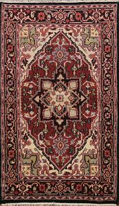 Traditional Geometric Indo Heriz Oriental Area Rug Hand-knotted Wool Carpet 4x6