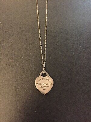 Please Return To Tiffany Co Sterling Silver Small Heart Tag Pendant Necklace Ebay