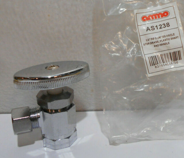 """Lot of 5 Faucet Angle Stop Shut Off Valve 1//2/"""" Inlet ID  x 3//8/"""" outlet OD"""