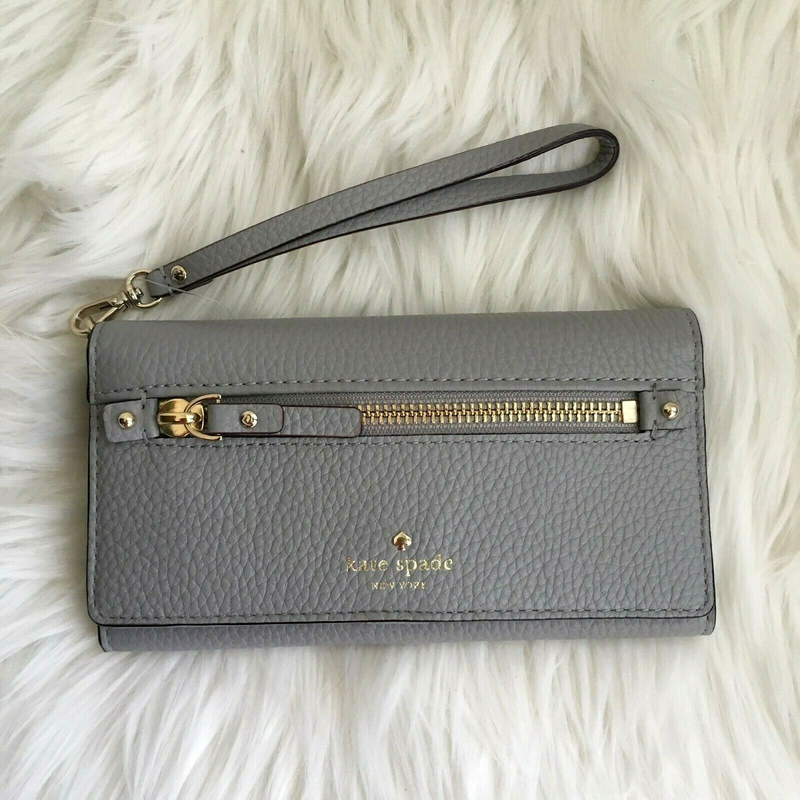 kate spade wallet grey leather cobble hill 7.25 x 4 wristlet NEW