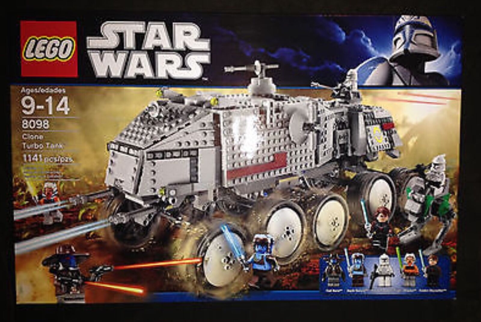 Lego Star Wars 8098 Clone Turbo Tank 1141 PC 5 Mini Figuras Anakin Cad Bane Nuevo