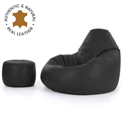 Luxury Real Leather Bean Bag with Footstool  XX LARGE Recliner Chair Onyx Black