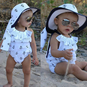 Infant Baby Girl Romper Anchor Jumpsuit Outfits Sunsuit Ruffles Clothes US Stock