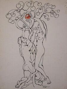 Lithographie Adam et Eve Signée Marko péché originel femme homme nue nu nude