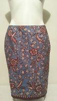 Petite Sophisticate Brown & Blue Floral Print Pencil Skirt Size 10