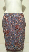 Petite Sophisticate Brown & Blue Floral Print Pencil Skirt Size 10
