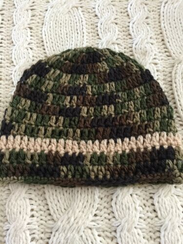 Crochet Baby Beanie for Boy or Girl,Classic Camo With Beige Stripe 3-6 months