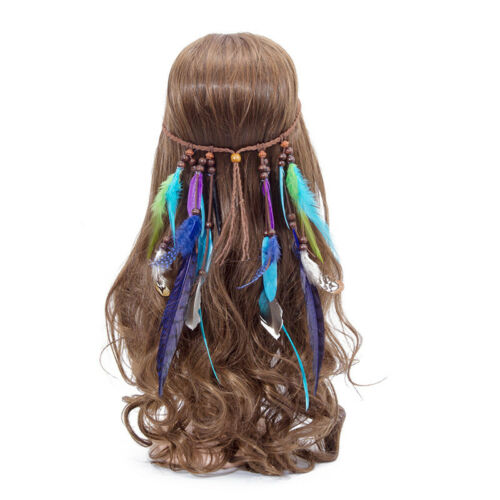 Women Indian Feather Weave Headdress Boho Gypsy Hippie Headband Hair Band