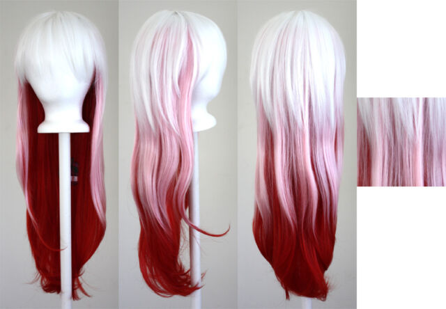 28'' Long Straight Layered Fade Pink Cosplay Wig Guilty Crown Inori Yuzuriha