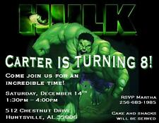 12 Custom Incredible Hulk Birthday Invitations Style 3 By The Notecard Lady