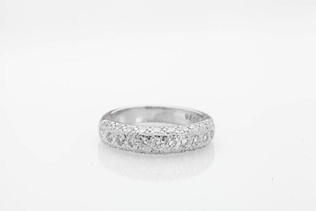 Estate $4400 .75ct Diamond Pavet Diamond Platinum 6.5mm Wedding Band Ring