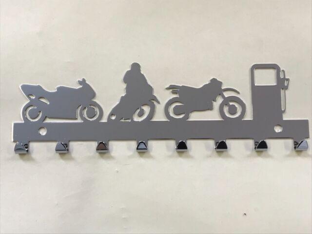 Chrome Motorcycle Motorbike Key Holder Rack 8 Hooks - Ideal Gift