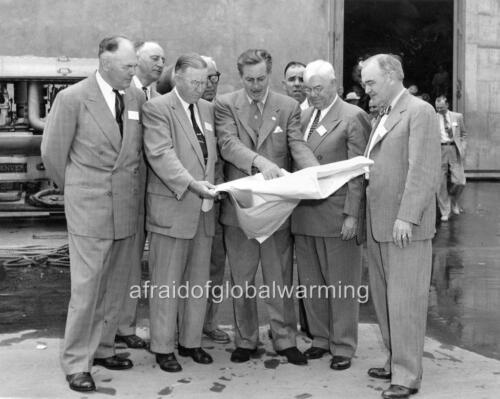 1950s Old Photo Walt Disney Showing Disneyland Plans to Officials