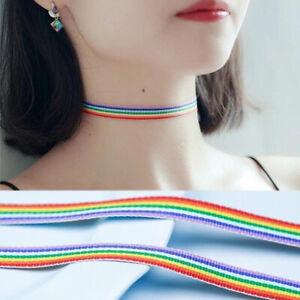 Maenner-Bunte-Wachsleine-Gay-Choker-Collar-fuer-Baender-Halskette-mit-Regenbogen