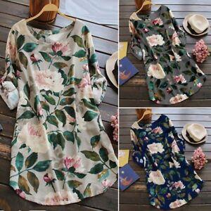 ZANZEA-10-24-Women-Casual-Tunic-Top-Blouse-Sundress-Vintage-Floral-Short-Dress