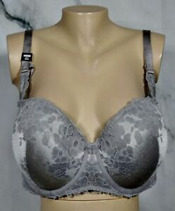 TORRID-CURVE-NEW-NWT-Gray-Floral-Lace-Push-Up-Strapless-Convertible-UW-Bra-44DDD