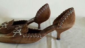 Prada Scalloped Suede Pump Metallic Heels Shoes Mauve