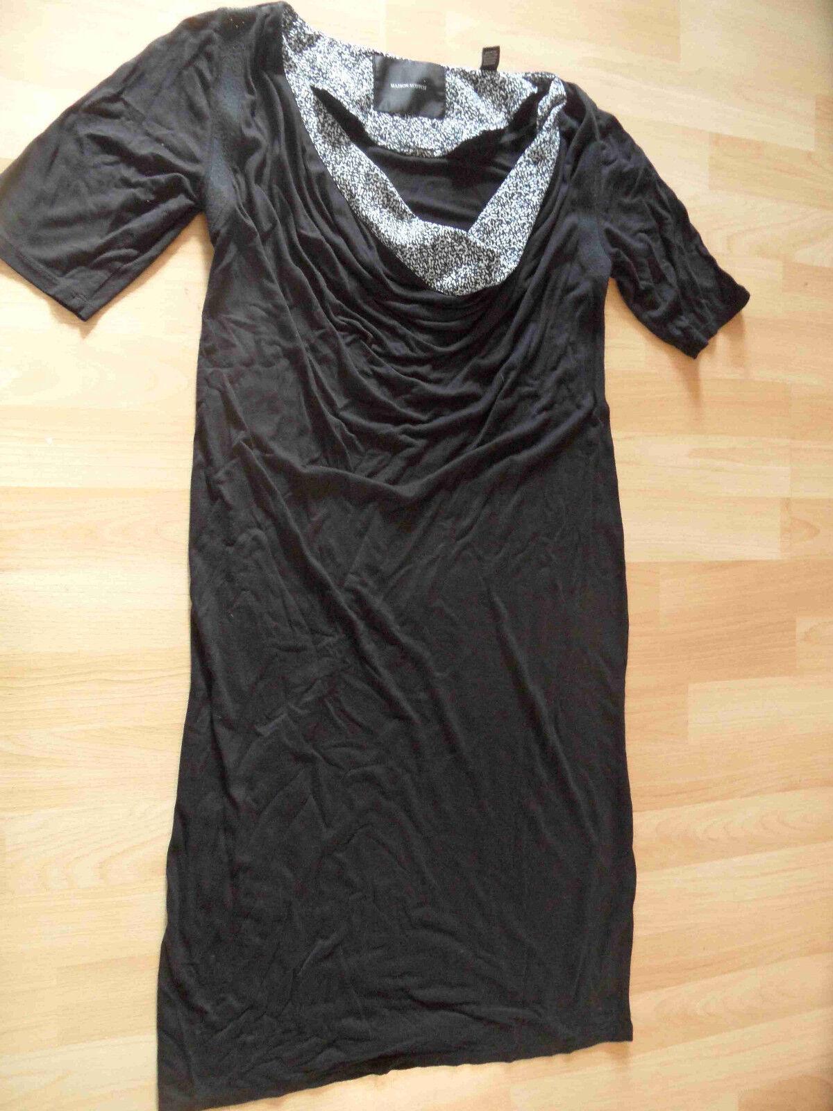MAISON SCOTCH schönes Jerseykleid Wasserfallausschnitt black Gr. S TOP 816