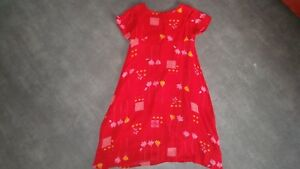 Robe-voile-doublure-rouge-vif-lumineux-8-ans-MARESE-marese-TRES-BON-ETAT
