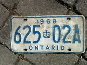 Vintage 1968 Ontario ON Canada Vehicle License Plate White Blue~ POOR 625 02a
