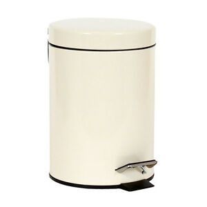 3ltr stainless steel small cream pedal bin kitchen. Black Bedroom Furniture Sets. Home Design Ideas