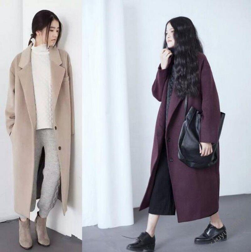 Moda Moda Moda de Mujer Estilo Retro De Gran Tamaño De Lana Parka Abrigo Largo Damas Outwears combinado Y356 5cbd79