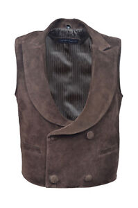 Suede Soft Waistcoat Leather Fashion Party Real Men's Edwardian Style New Brown qg88xRU