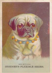 Victorian Trade Card Greiner's Flexible Shoes Pug Dog
