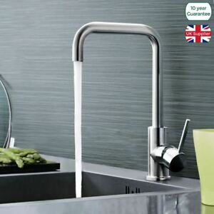 ELIMPUS MODERN CHROME SINGLE LEVER SWIVEL SPOUT KITCHEN SINK MONO MIXER TAP