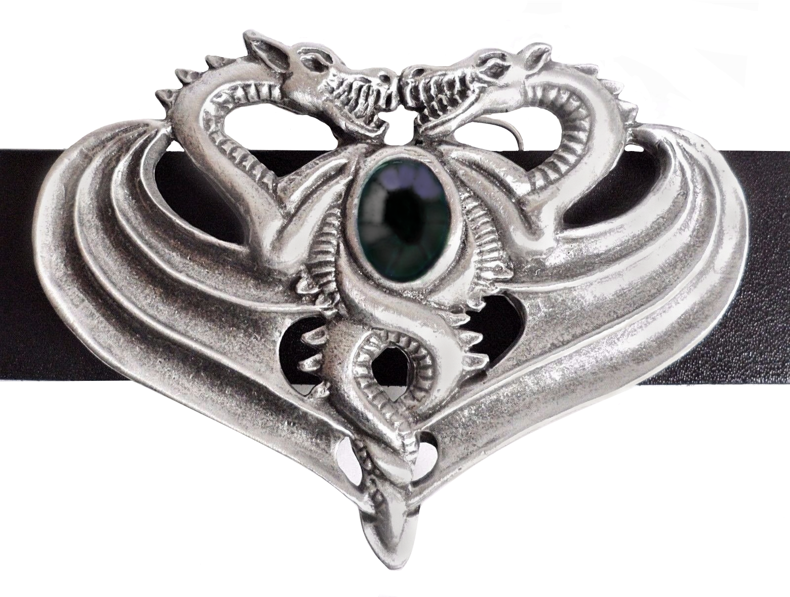 Opposing Dragons Belt Buckle - Hand Made in Pewter with Jet-coloured Stone
