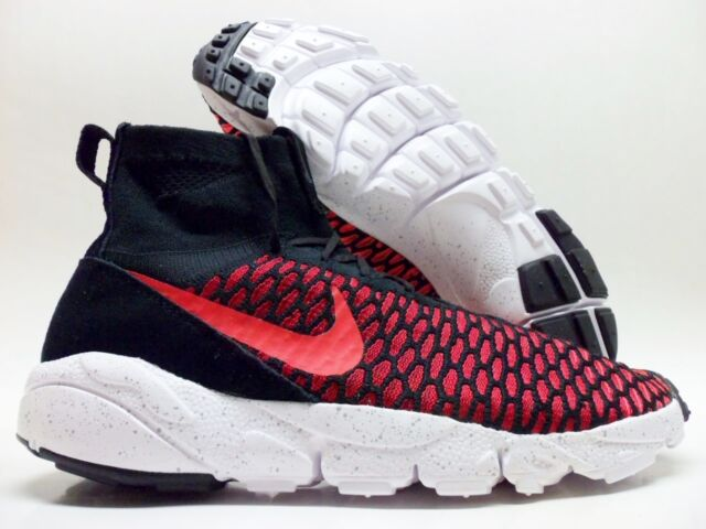 3f9b568006da Nike Air Footscape Magista Flyknit Sz 10 Black Bright Crimson Red 816560 002