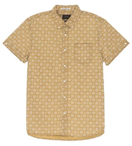 J17A-221-PP2 Mens Jachs New York Gold Lotus Print Short Sleeve Shirt