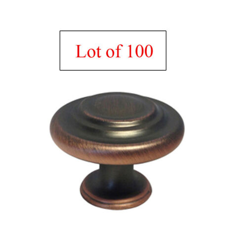 Lot of 100 Oil Rubbed Bronze Round Ring Kitchen Cabinet Knobs free shipping