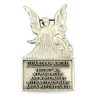 Visor Clip Guardian Angel Protect Me Silver Pewter Vintage Car Auto Catholic