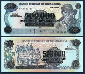 Überdruck Note Demonstration Blumen Unc Well-Educated Nicaragua P163 500,000 Cordoba